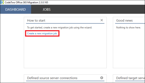 Office 365 Migration - new migration job