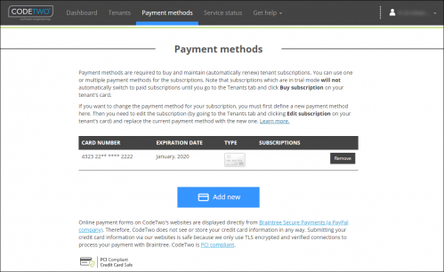 ESIG 365 Payment methods tab