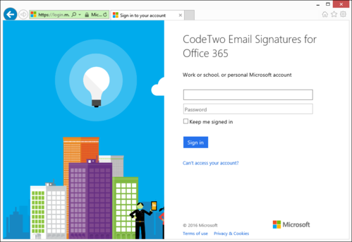 Signing in to Office 365.