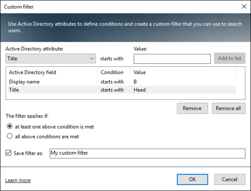 Active Directory Photos - custom filter settings