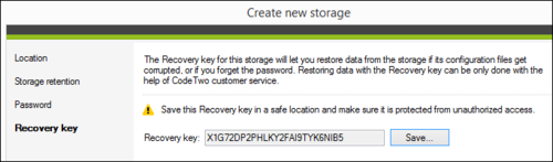 Backup - Saving a Recovery key.