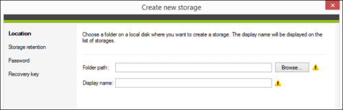 Backup - New Storage Wizard
