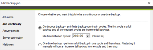 Selecting the idle time between cycles of the continuous backup job.