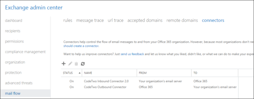 ESIG for O365 Connectors Exchange admin center