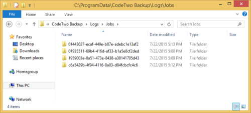 Logs folders names visible as jobs IDs.