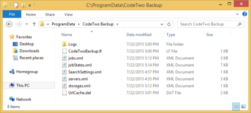 XML settings files visible in ProgramData folder.