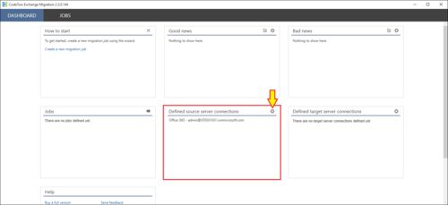 Exchange Migration source Office 365 connection