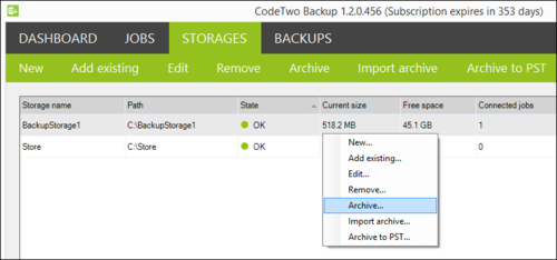 Backup - Archive Job from Storage
