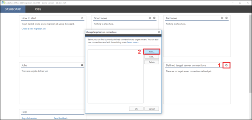 Office 365 Migration new target connection