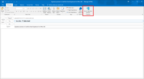 ESIG for O365 signature preview Outlook 1
