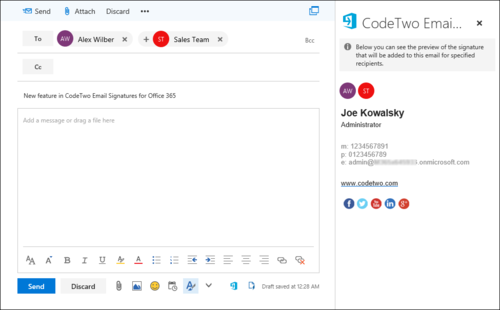 ESIG for O365 signature preview OWA 2