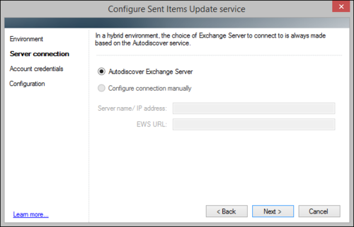 The Sent Items Update configuration wizard, hybrid environment connection