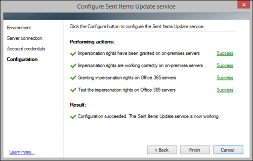 The Sent Items Update configuration wizard, hybrid environment successful SIU configuration