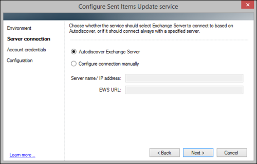 The Sent Items Update configuration wizard, on-premises autodiscover server connection