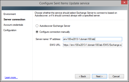 The Sent Items Update configuration wizard, on-premises manual server connection