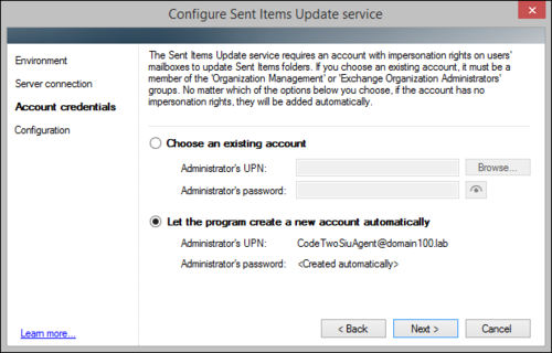 The Sent Items Update configuration wizard, on-premises account auto-setup