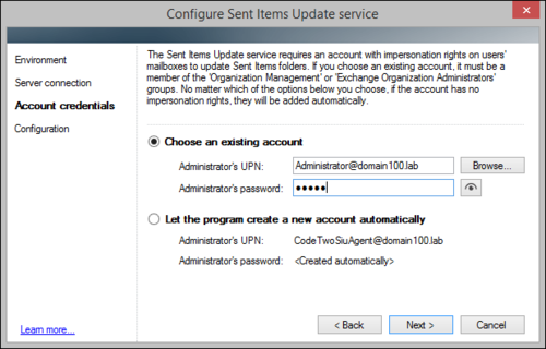 The Sent Items Update configuration wizard, on-premises account manual setup
