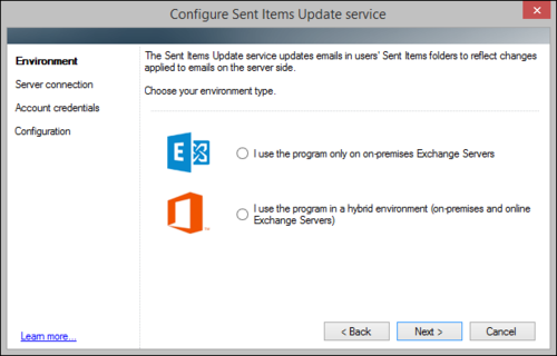 The Sent Items Update configuration wizard, environment type choice step