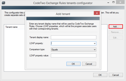 Exchange Rules Pro - Add tenant