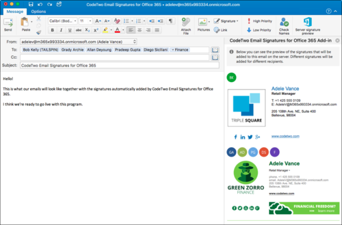 ESIG for O365 signature preview Outlook for Mac