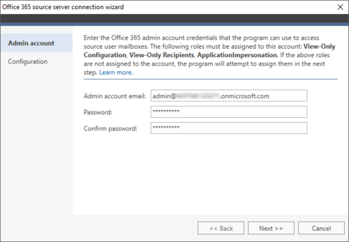 Exchange Migration Office 365 source wizard 1
