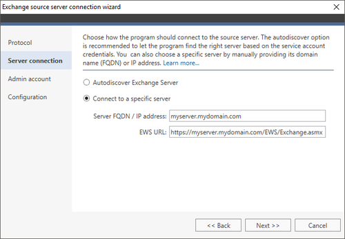 Exchange Migration Exchange source wizard 2 EWS