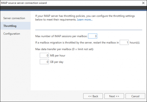 Exchange Migration IMAP source wizard 2