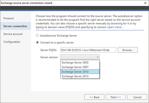 Exchange Migration Exchange source wizard 2 MAPI