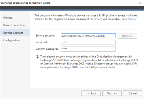 Exchange Migration Exchange source wizard 3 MAPI