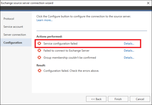 Office 365 Migration source wizard failure 1