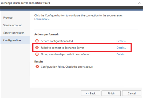 Office 365 Migration source wizard failure 2
