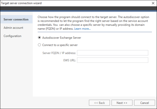 Exchange Migration target connection wizard 1