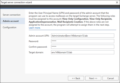 Exchange Migration target connection wizard 2