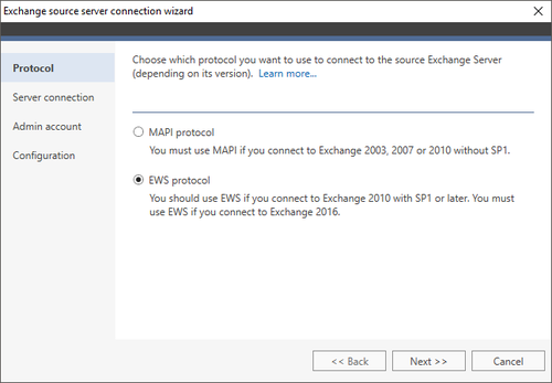 Office 365 Migration Exchange source wizard 1 EWS