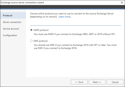 Office 365 Migration Exchange source wizard 1 MAPI