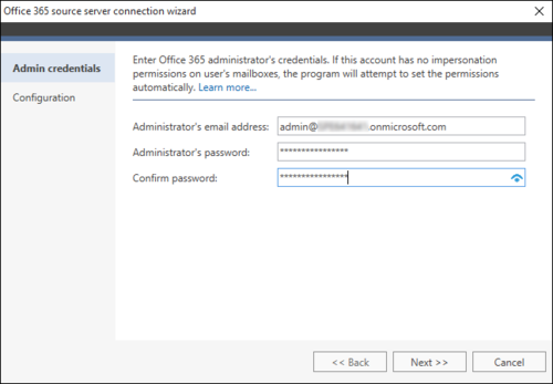 Office 365 Migration Office 365 source wizard 1