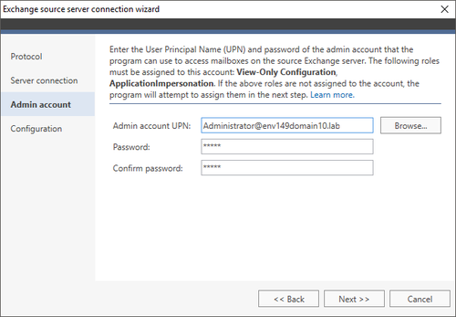 Office 365 Migration Exchange source wizard 3 EWS
