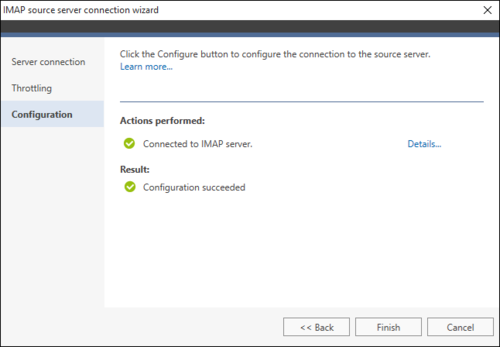 Office 365 Migration IMAP source wizard 3