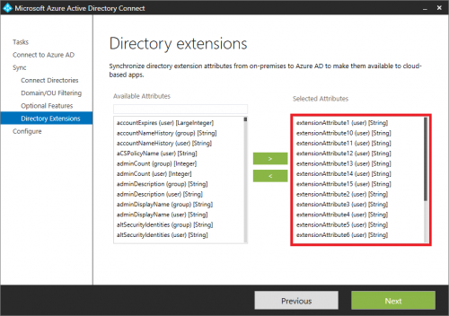 Configuration of Azure AD Connect, step 2.