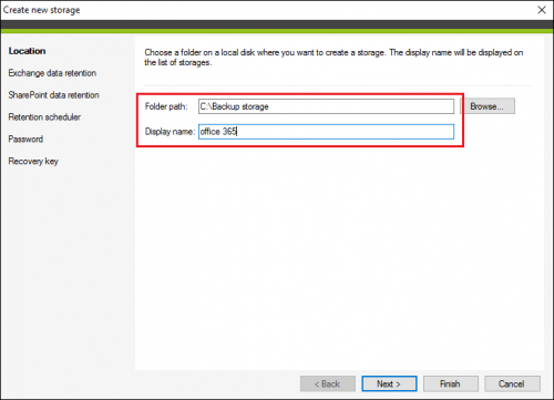 Selecting folder path and display name for a backup storage in CodeTwo Backup