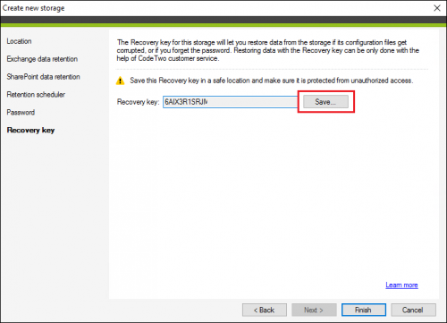 Saving a storage Recovery key in CodeTwo Backup