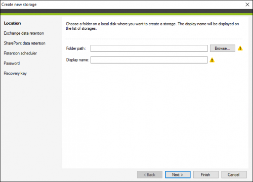 Backup storage creation wizard in CodeTwo Backup