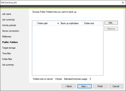 Select public folders included in the backup process.
