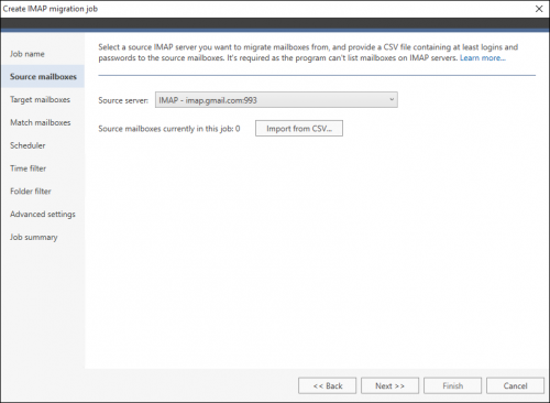 Office 365 Migration IMAP server source mailboxes