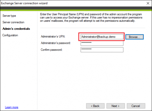 Backup Exchange connection admin credentials