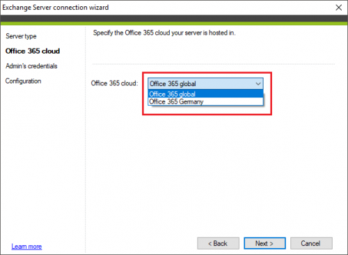 Backup Exchange connection Office 365 cloud