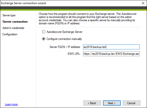 Backup Exchange server connection