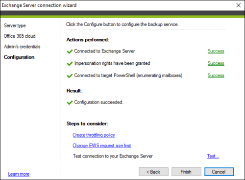 Backup O365 connection configuration