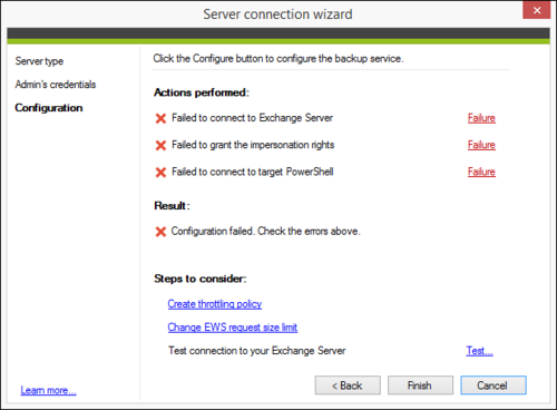 Backup Office 365 connection wizard failures
