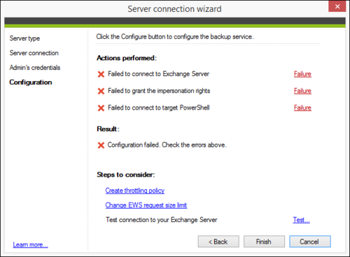 Backup Exchange connection wizard failures